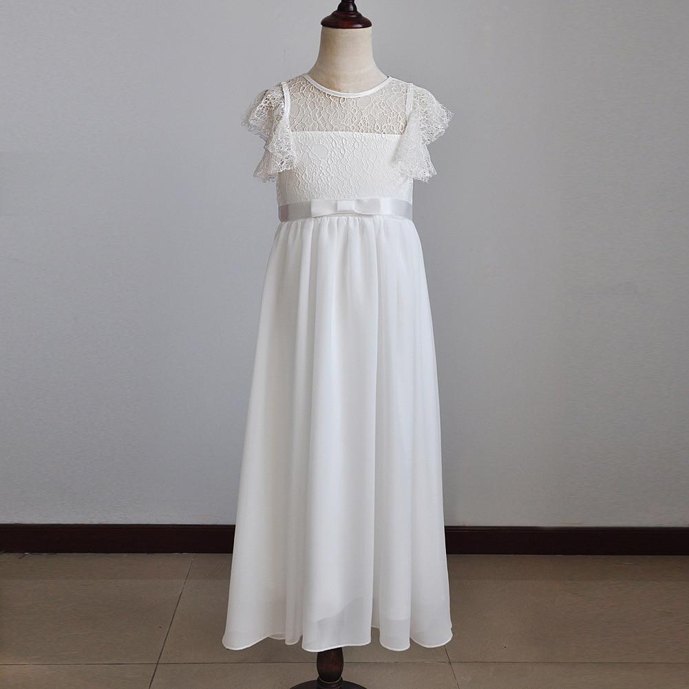 Fashion Girl Cotton Princess Dress Summer Children's Wedding Clothing Girl Chiffon All White Beach Dress Best Party Kids Clothes