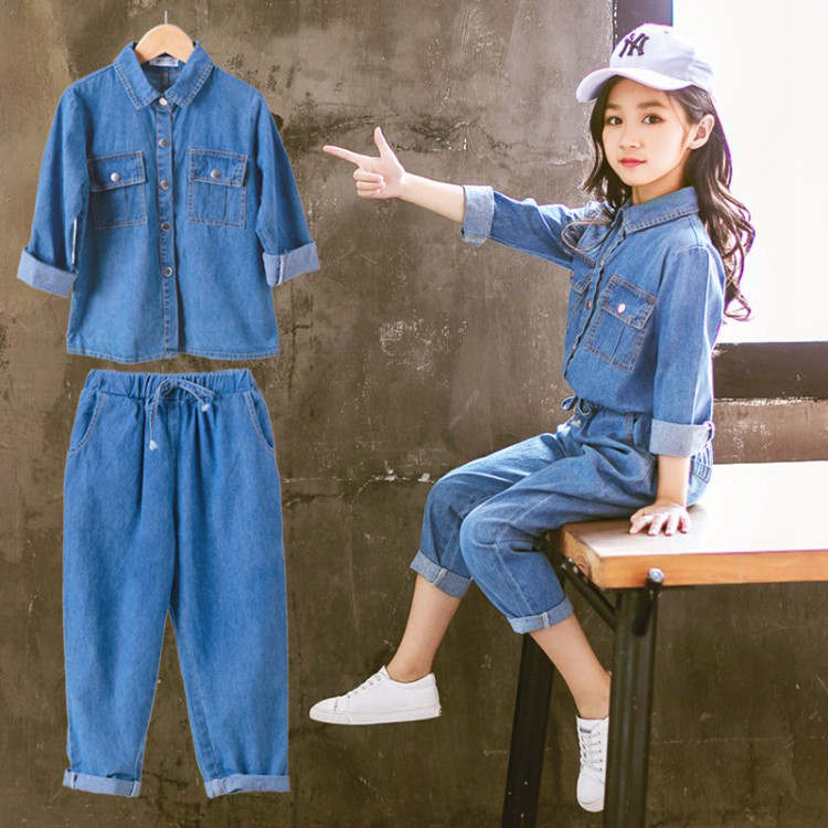 Denim Kids Clothing Set Casual Children Two Piece Suit Solid Blue Jeans Tops +Pants Teenage Girl Set Spring Autumn Tracksuit