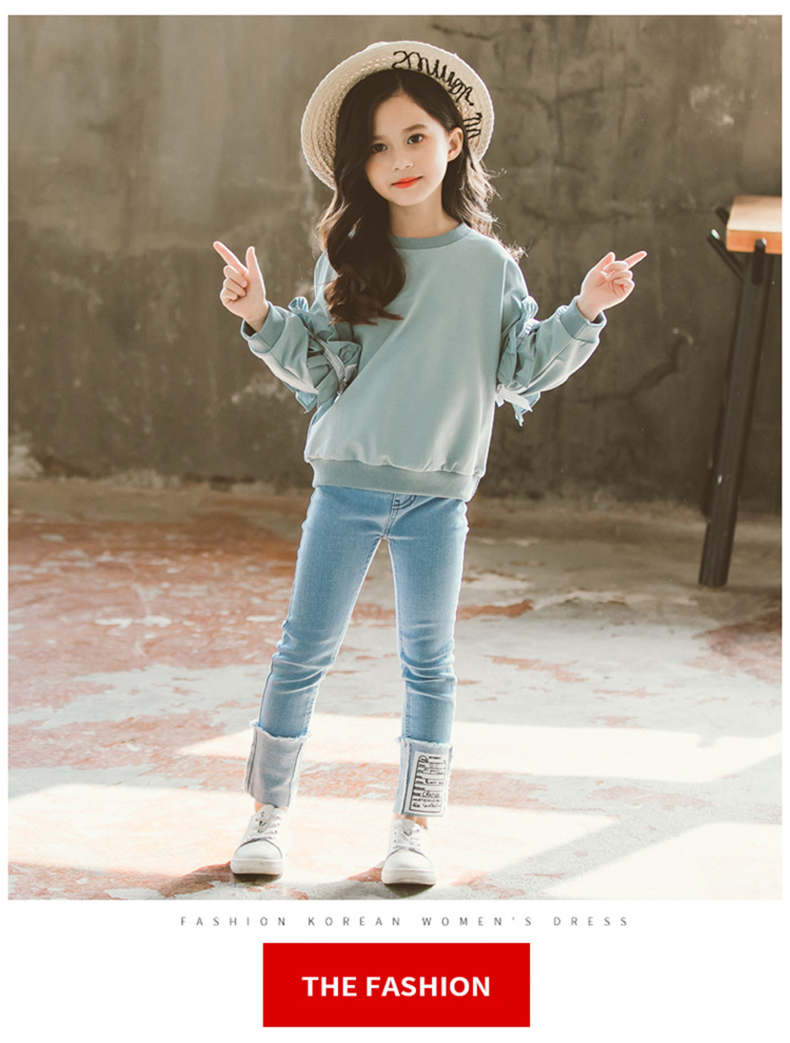 Girl Set Spring Autumn Kids Clothing Set 2019 Solid Sweatshirt + Jeans Pants 2 Pcs Teenage School Girls Lace Sleeves Tracksuit