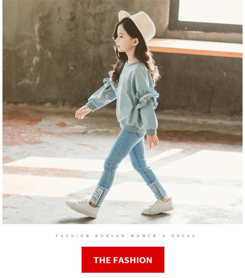Girl Set Spring Autumn Kids Clothing Set 2019 Solid Sweatshirt + Jeans Pants 2 Pcs Teenage School Girls Lace Sleeves Tracksuit