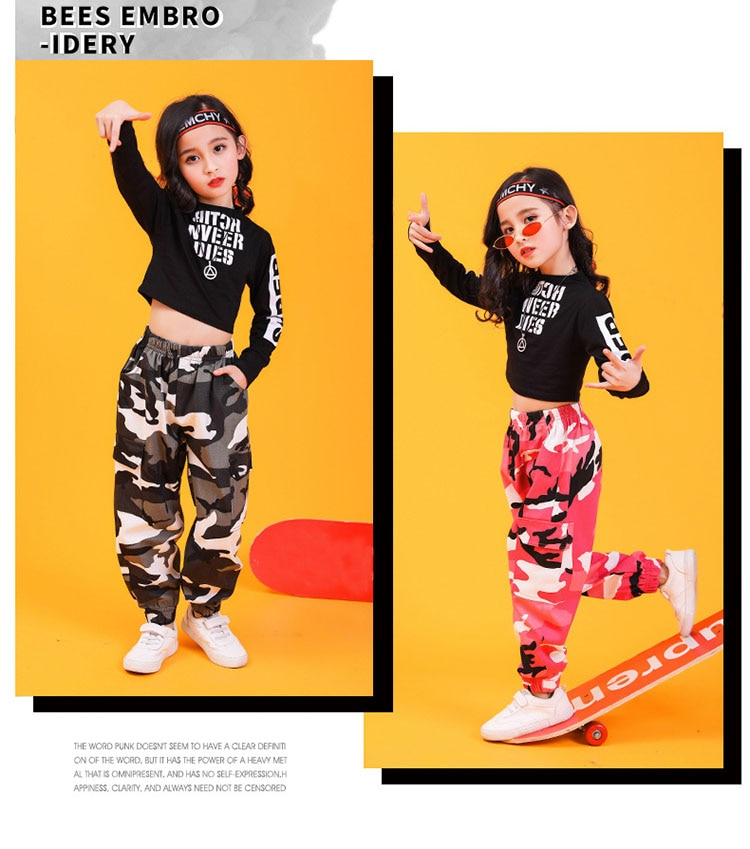 Children Hip Hop Clothing Sweatshirt Top Crop Shirt Camouflage Casual Pants for Girl Dance Costume Ballroom Dancing Clothes Wear