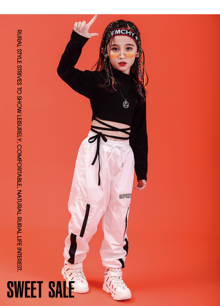 Children Hip Hop Clothing Sweatshirt Black Shirt Top Crop Casual Pants for Girl Jazz Dance Costume Ballroom Dancing Clothes Wear