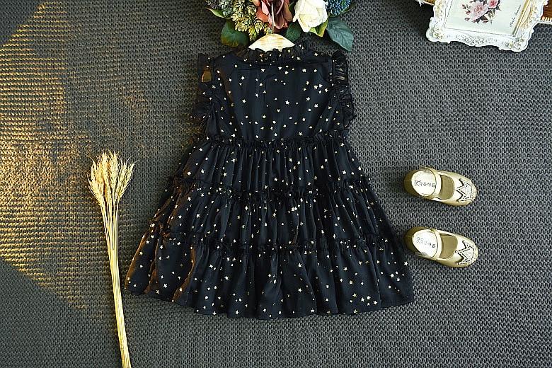 Humor Bear Girls Dress Summer Toddler Dress Sleeveless Dress Hot Gold Little Star Princess Dress Girls Baby Kids Clothing