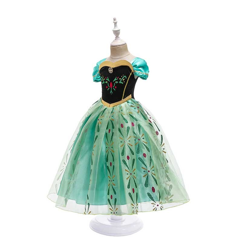 Princess Girl's Elsa Anna Snow Dress LIttle Girls Elza Belle Cosplay Summer Polyester Dresses Clothing Baby Kids Yellow Clothes