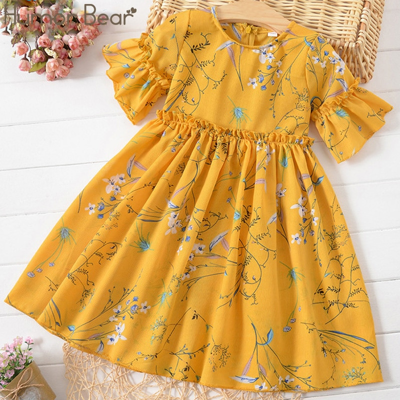 Humor Bear Toddler Girls Dress Summer 2020 Princess Party Dress Flare Short Sleeves Ruched Floral Print Dress Girls Clothing