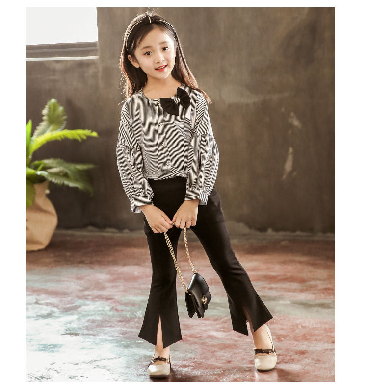 Spring Autumn Girl Clothing Sets Kids Long Sleeve Striped T-shirt +Flare Pants 2Pcs Children Girls' Clothes Suits