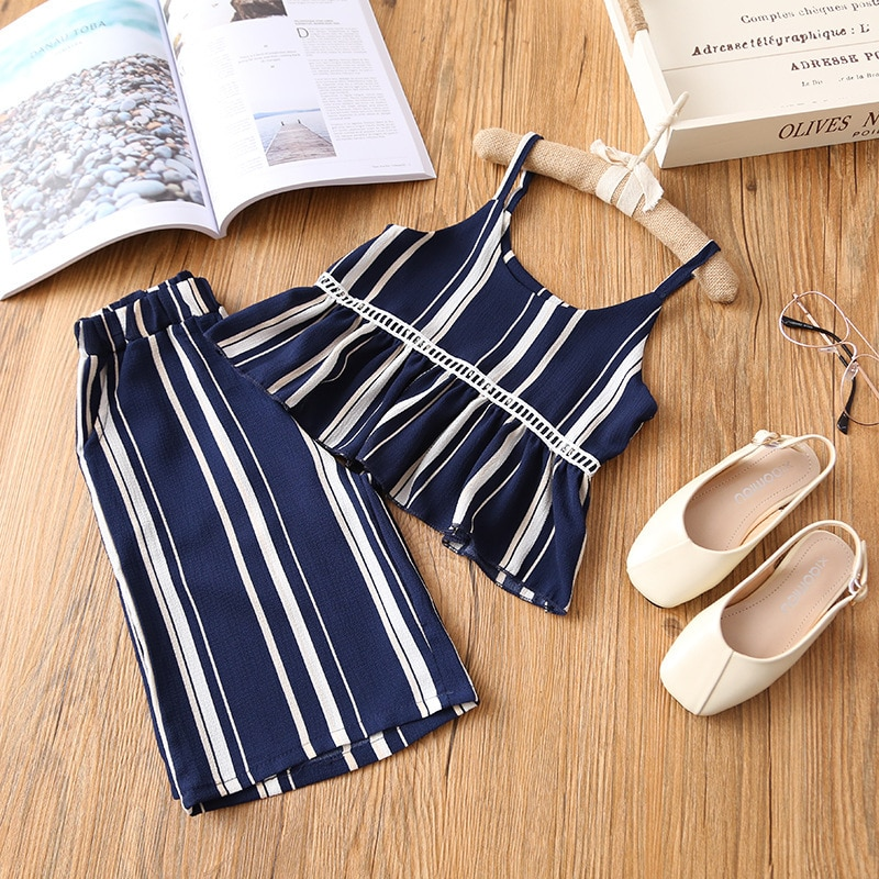 New Fashion Girls Clothes Set Sleeveless Striped Two Pcs Clothing Suit for Kids Girl Sumemr Wear Casual Chiffon Clothes Sets