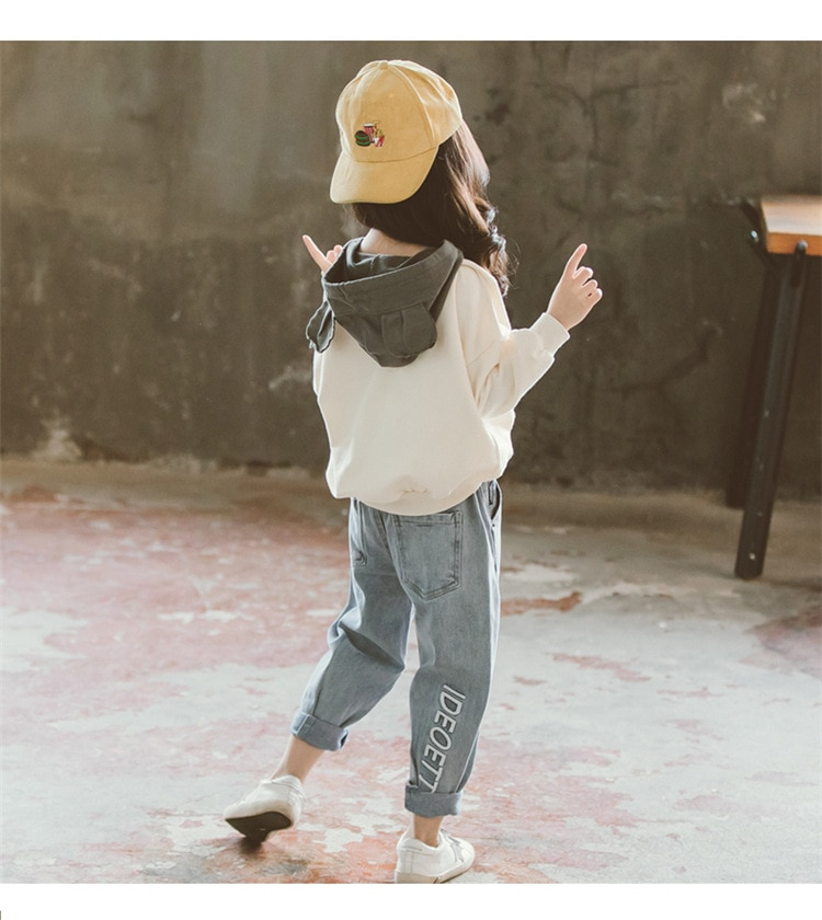 Spring 2020 Kids Girls Clothes Set Hooded Sweatshirt & Loose Jeans Pants 10 12 Y 2Pcs Suits Teenage Tracksuits Children Clothing
