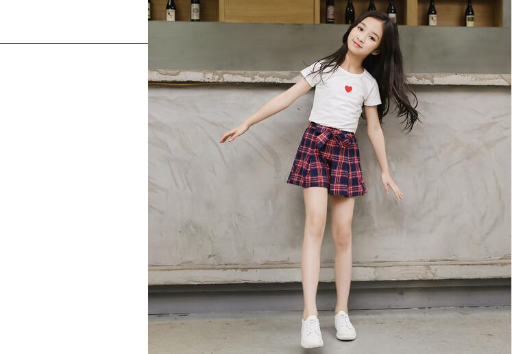 Summer Baby Clothes Set for Girl T-shirt+shorts 2pc Suit Children Short Sleeve and Plaid Skirts Kids Girls Clothing