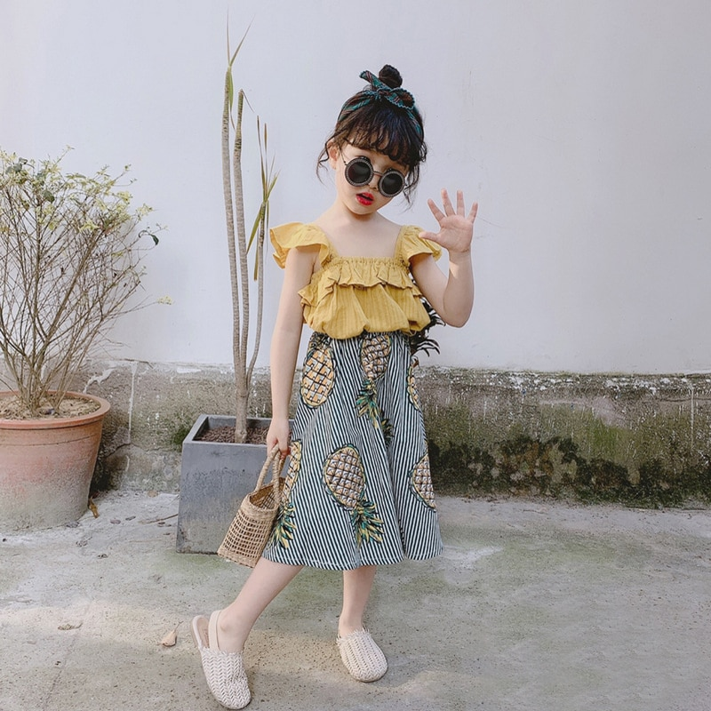 Sodawn Summer Baby Girl Clothing Sets Flower Sleeveless Top+Fruit Printed Skirts 2Pcs Toddler Kids Clothes Outfits For Girl