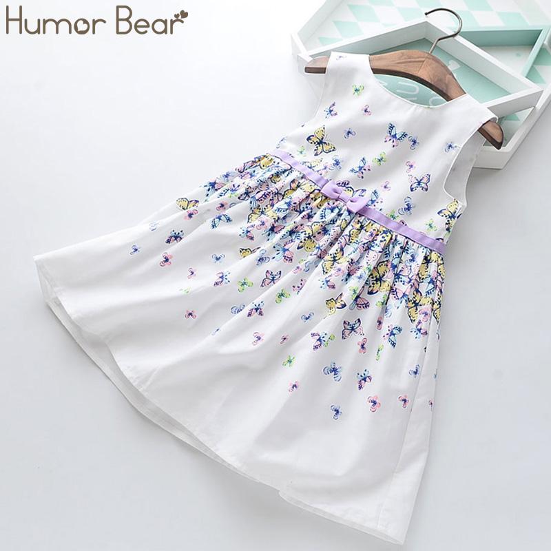 Humor Bear Summer Girls Dress Striped Bow Princess Dress Girls Doll Collar Sleeveless Dress For Girls Children Clothing