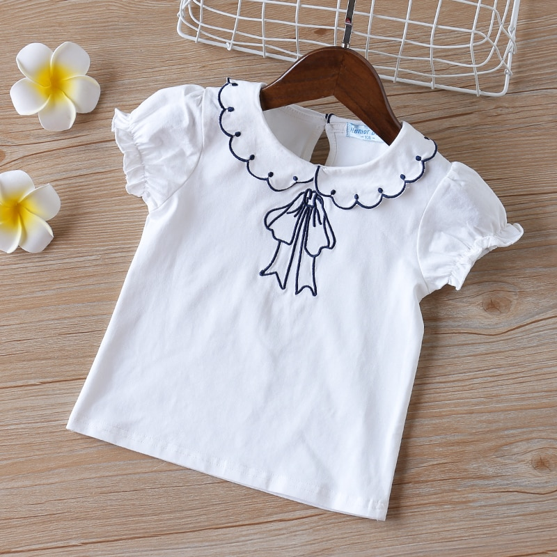Humor Bear New Summer Children Clothing Fashion Doll Collar Girl Bow  White Blouses+ Shorts Clothing Set Kids Clothes Sets
