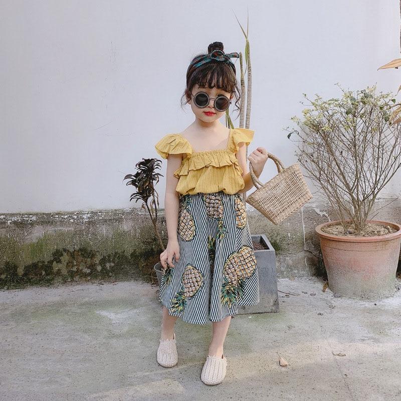 Humor Bear Baby Girls Clothing Set Summer Korean Flying Sleeve T-shirt+Suspender Skirt Bow Kids 2PCS Suit Toddler Girl Clothes