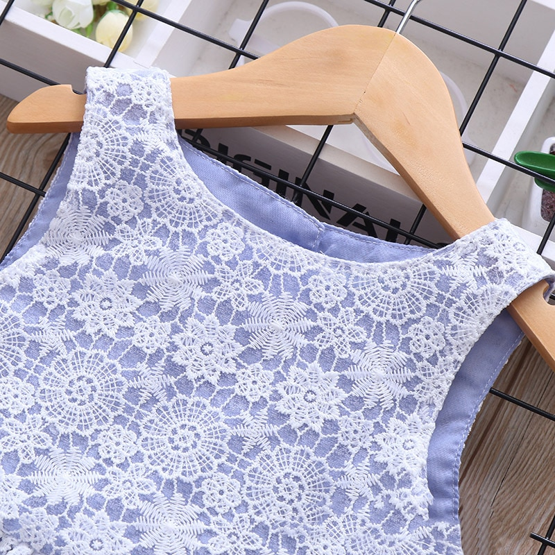 Humor Bear Summer Brand New Girls Dress Flowers Lace Silk Dress Fashion Girls Round Neck Flying Sleeve Dress Baby Kids Clothing
