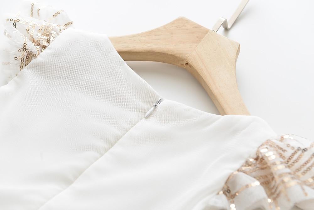 Humor Bear Girls Dress Summer Brand New Sequin Splicing Yarn Girls Round Neck Flying Sleeve Dress Baby Kids Girls Clothing