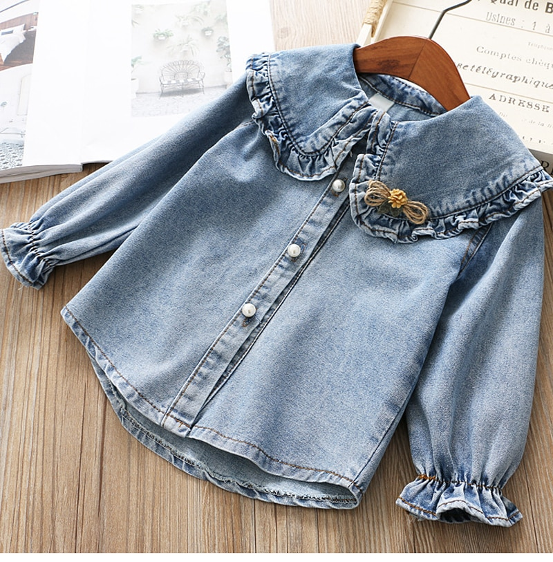 IYEAL Girls Clothing Sets 2020 New Spring Kids Clothes Long Sleeve Denim Shirts+Tutu Cake Skirt 2Pcs Children Toddler Outfit