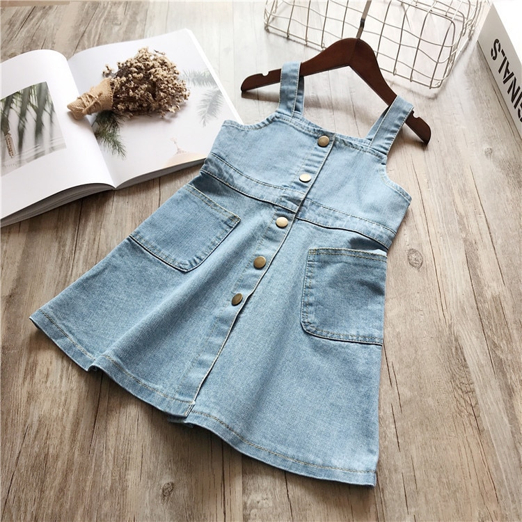 Humor Bear 2020 Summer Kids Dresses For Girls Sleeveless Denim Wash Strap Dress Princess Dress For Girls Clothing