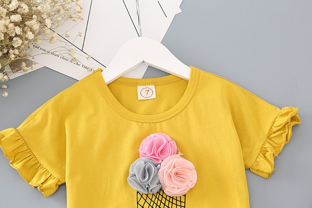 Girls Clothes Set Fashion Ice Cream Yellow Shirt With Plaid Pants 2 pcs Children Clothing Set Lovely Set Baby Kids Summer Outfit