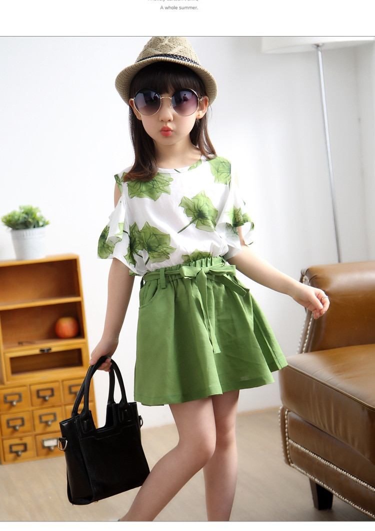 Cotton and Linen Summer Teenage Girls Suit Girl Clothing Set Kids Princess Children Clothes Sets Outfits 5 6 8 9 10 11 12 Years