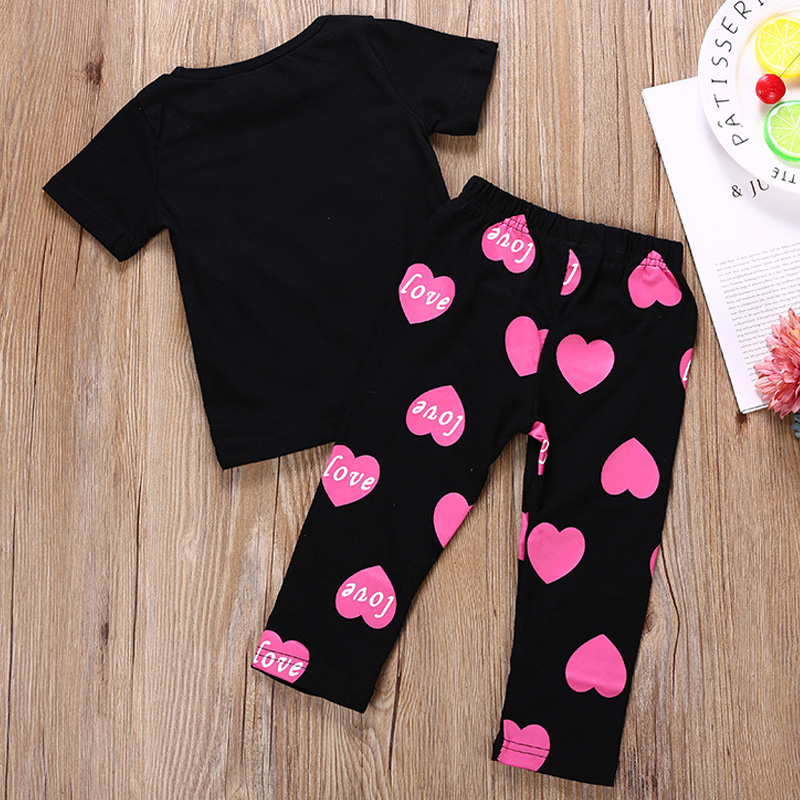 Humor Bear Girls Clothing Set Baby Girls Outfits T-shirt Letter Lip Tops+Printed Long Pants Suit 1-6Year Girls Baby Kid Clothes