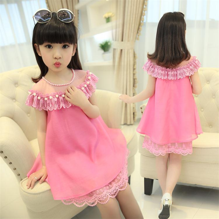 Girls Princess Dress Children Evening Clothing Kids Chiffon Quality Lace Dresses BabyGirl Party Prom Pearl Dress 2020 New Summer
