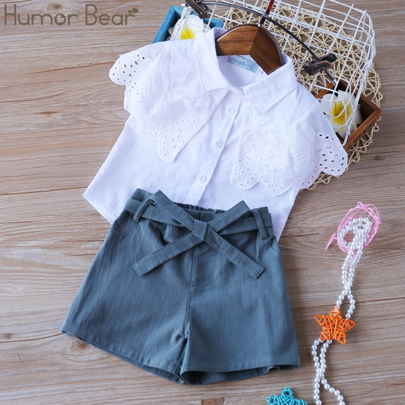 Humor Bear Summer Clothing Sets 2020 Brand New Plaid Flower Pattern Short Sleeve + Denim Shorts Girls Outfits Girls Clothes