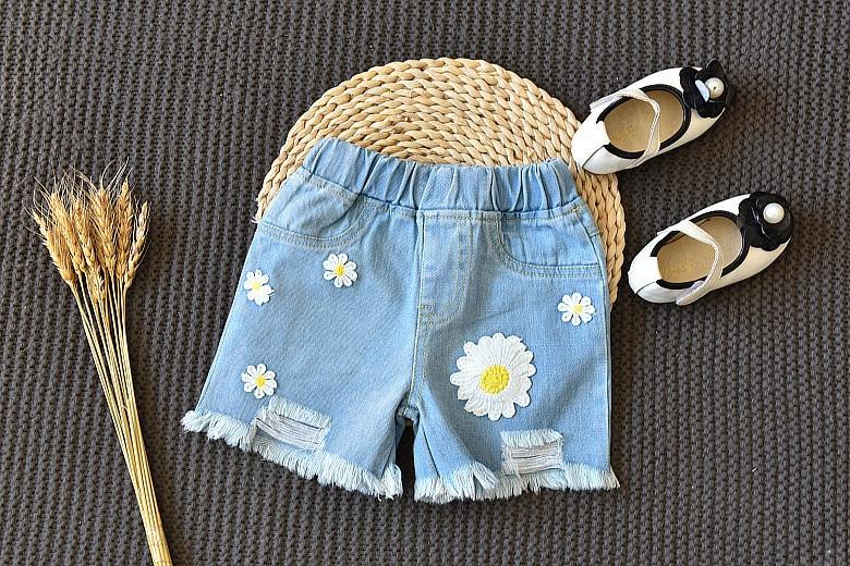 Humor Bear Summer Clothing Sets 2020 Brand New Plaid Flower Pattern Short Sleeve + Denim Shorts Girls Outfits Girls Clothes