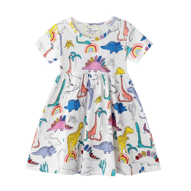 Jumping Meters New 2020 Dinosaurs Dresses for Girls Cotton Clothing Hot Selling Toddler Princess Party Tutu Dresses