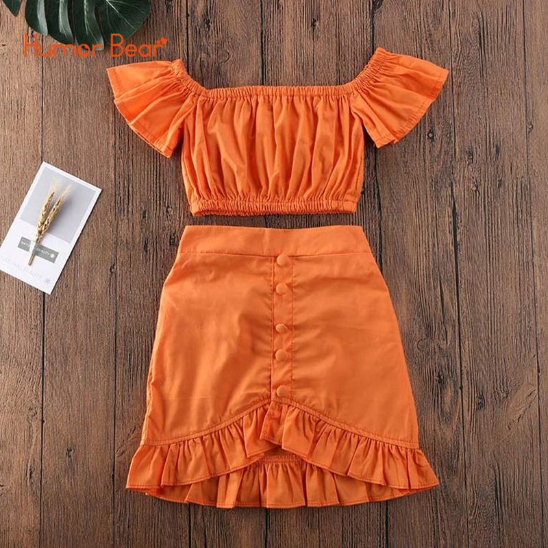 Humor Bear 2020 Summer Baby Girl Clothing Sets Children Clothes New Fashion One-shoulder Tops+Skirt 2Pcs Toddler Outfits