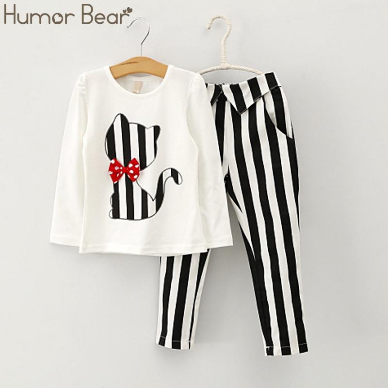 Humor Bear Autumn Baby Girl Clothes Cat Cartoon Long-Sleeve T-Shirt + Stripe Pants Suit Girls Clothing Set Children Clothing