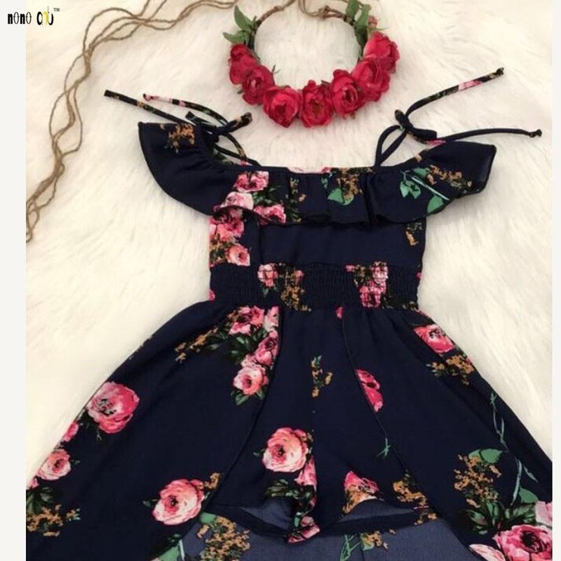 Fashion Elegant Girls Floral Dresses Sling Ruffles Irregular Princess Beach Summer Dress Child Girl Clothing 3 4 5 6 7 8 Years