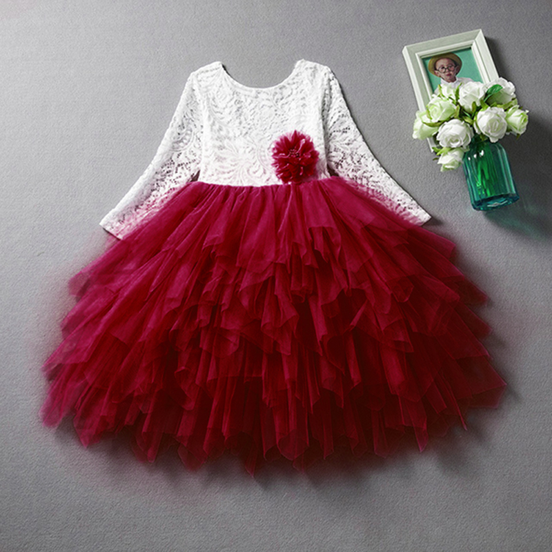 New dress for girls lace long sleeve kids flower clothes 2T-8T Fashion kids children princess dresses girls party clothing