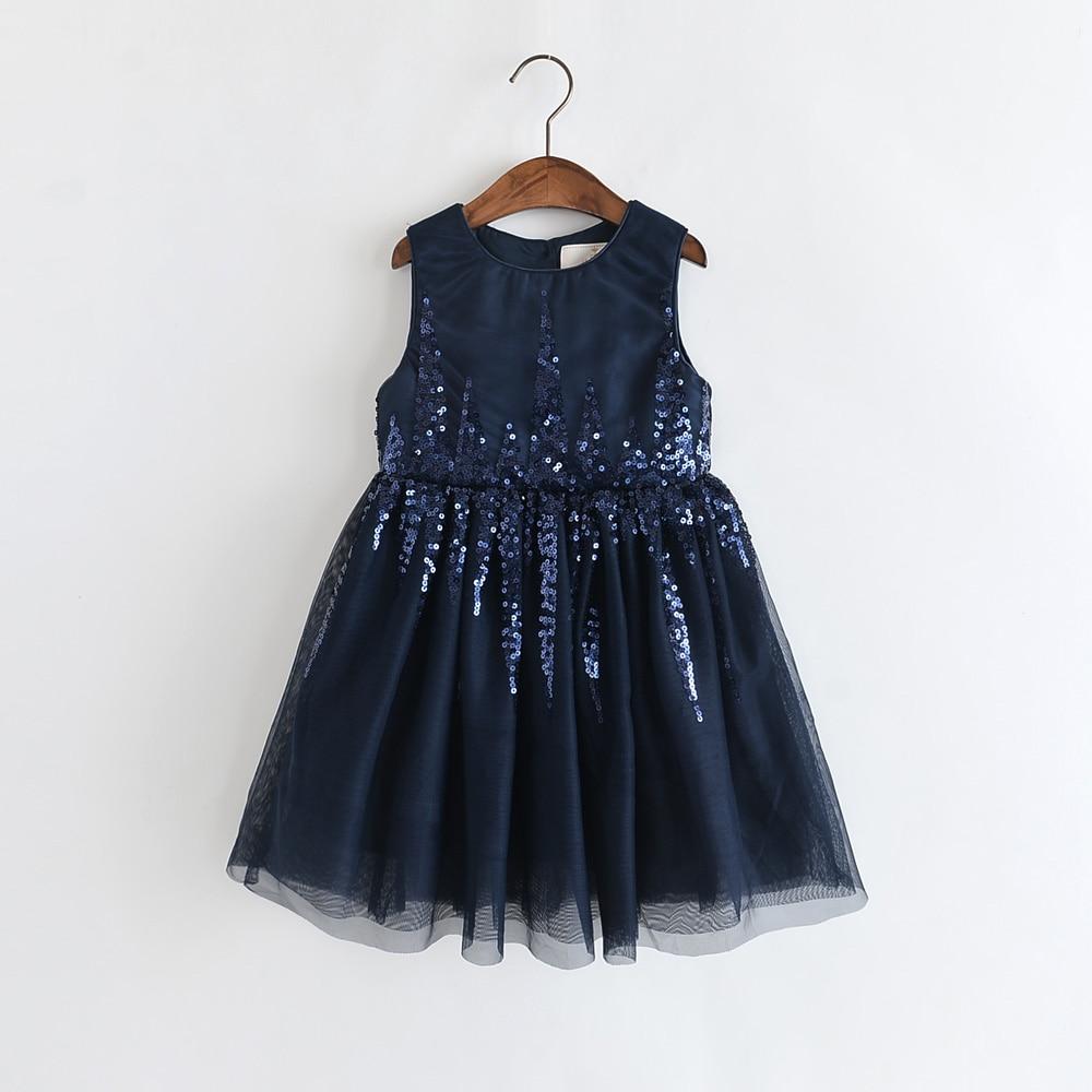 Humor Bear Girls Dress Summer Brand New Sequin Splicing Yarn Girls Round Neck Sleeveless Love Dot Dress Baby Kids Girls Clothing