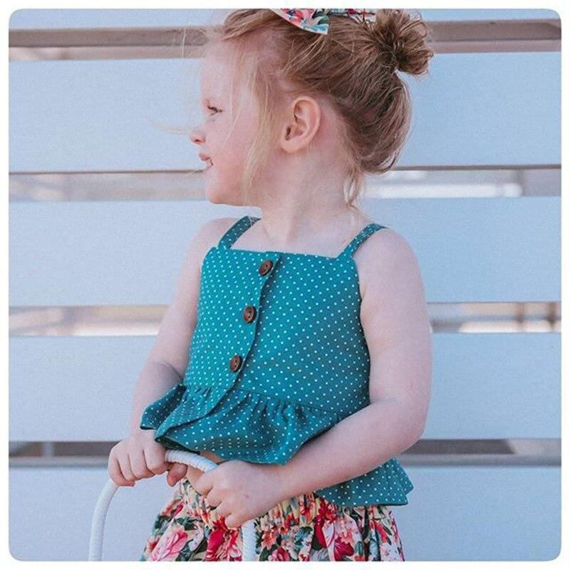 Humor Bear Baby Girls Clothes Sets 2019 Brand Summer strap Sleeveless Tops Shirts+ irregular floral Skirt Children Clothing Suit