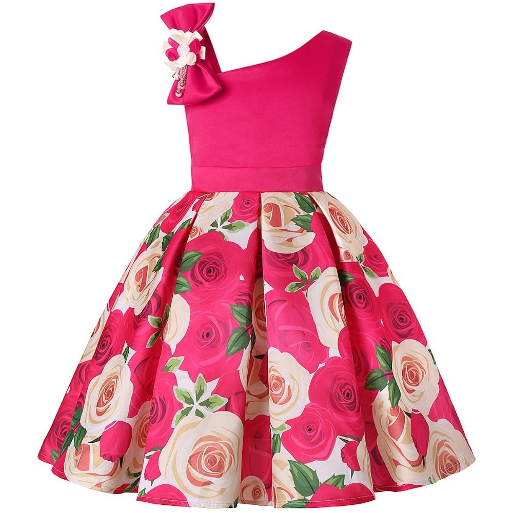 Girls Dress Rose Print Elegant Princess Dress Kids Dresses For Girls Costume Birthday Party Gown Children Clothing 2 10 12 Years