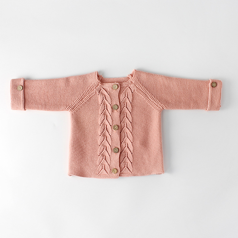 Spring Baby Boys Romper Autumn Infant Baby Girls Wear A Leaf Knitted Jumpsuit Wool Baby Clothing Cardigans Romper Children Coat