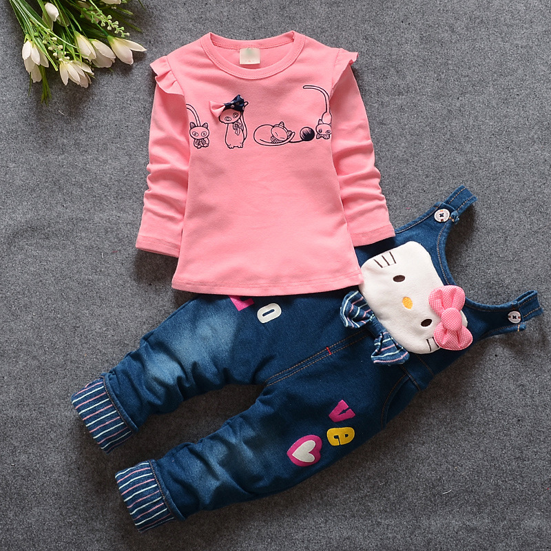 Baby Girls Spring Autumn Clothing Sets Toddler Kids Minnie Cartoon Casual Long sleeves+Suspenders Pants Suit Little Girl Clothes