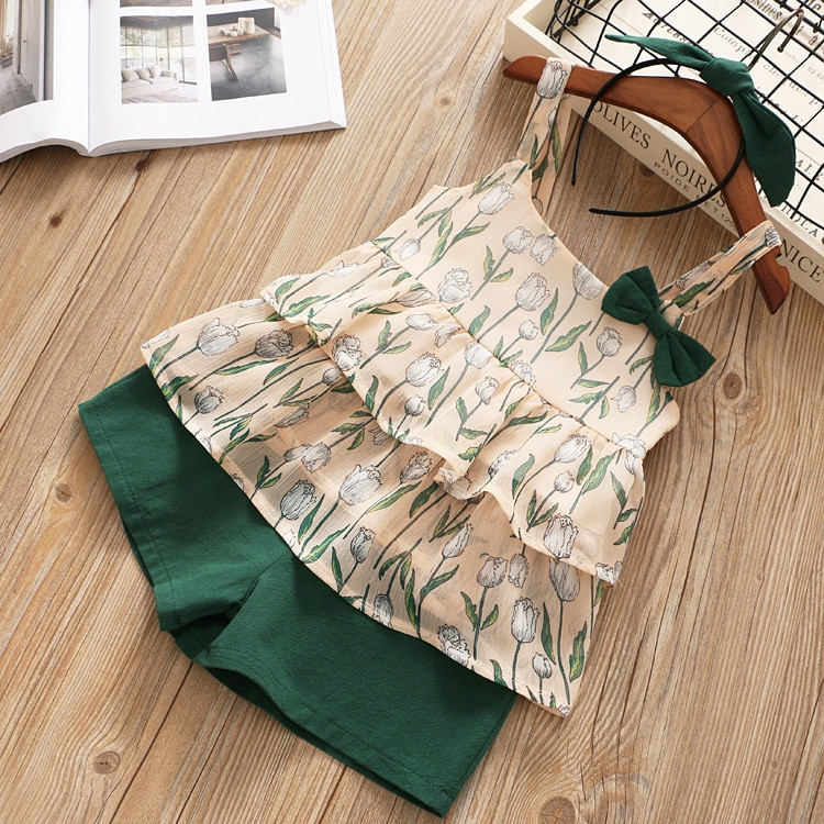 Humor Bear 2019 Summer Girls' Suit Layered Chiffon Flower Printed Sling Bow Tops and Shorts Two-piece Suit  Kids Clothing Set