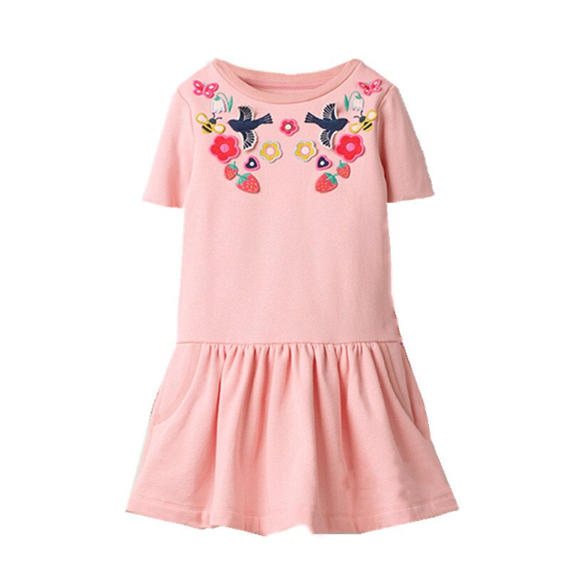 Jumping Meters Princess Tutu Embroidery Girls Dresses for Summer Baby Cotton Clothing Birthday Kids Party Dress