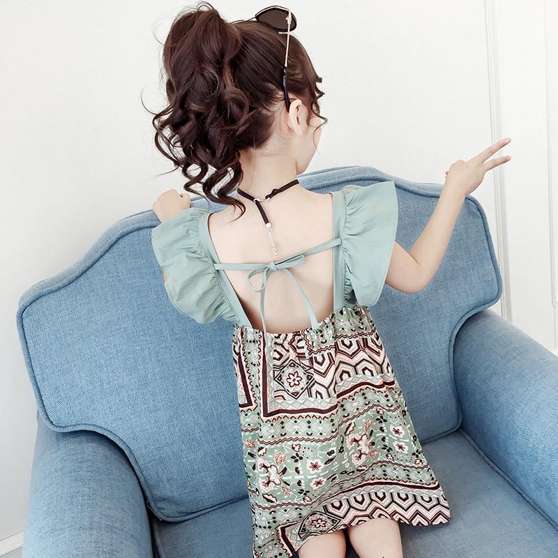 Humor Bear Girls Dress Summer Toddler Dress National Wind Strap Princess Dress Dress For Girls Clothing 3-11Y