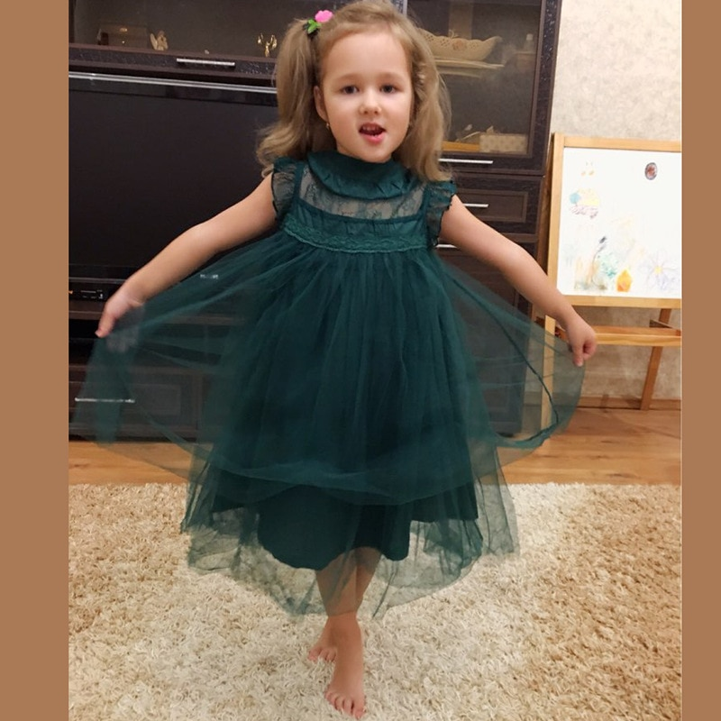 Baby Girls Summer Lace Tutu Green Dress Children Kids 2020 New Sleeve-less Lovely Fashion Clothing, Red/ Green/ Beige/ Brown