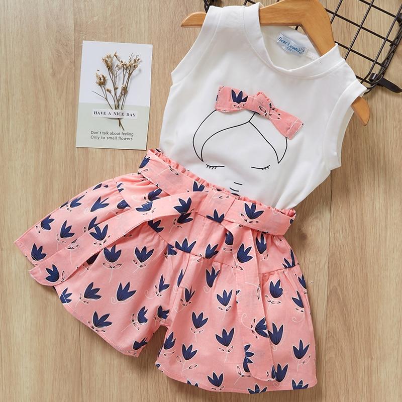 Bear Leader Girls Clothing 2020 New Casual Kids Sleeveless Vest and Pants 2PCS Girl Baby Lace Outfits Sweet Fashion Suits 3 7Y