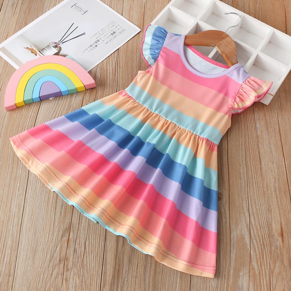 Girls Colorblock Rainbow Striped Princess Dress For Girls Lace Dresses 2020 Children Summer Dress Fashion Cute Clothing