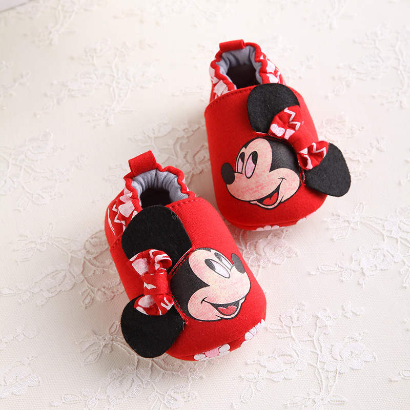 Disney 2018 Fashion Mickey New Autumn Winter Baby Shoes Girls First Walkers Newborn Shoes 0-18M Shoes First Walkers