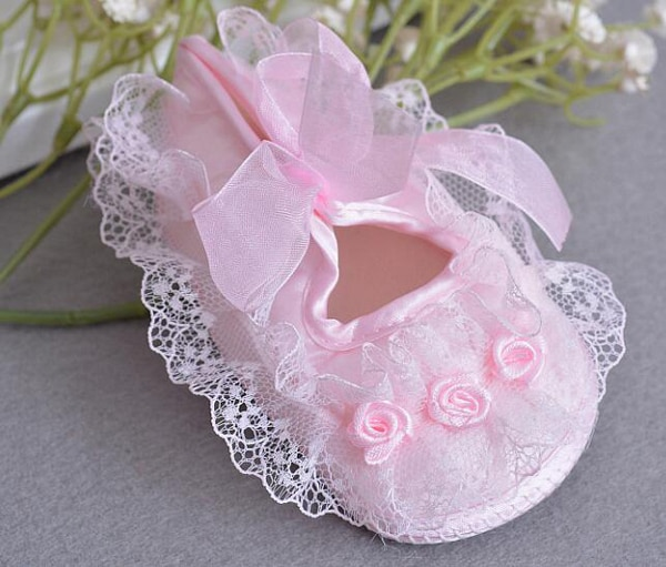 baby girls shoes newborn white champagne satin christening shoes infantil zapato princess lace flowers for wedding bridemaid SQ