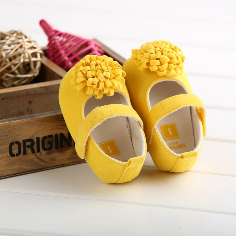Candy Colors Newborn Baby Prewalker Soft Bottom Anti-slip Shoes Footwear Classic Princess Girl Crib Mary Jane Big Flower Shoes