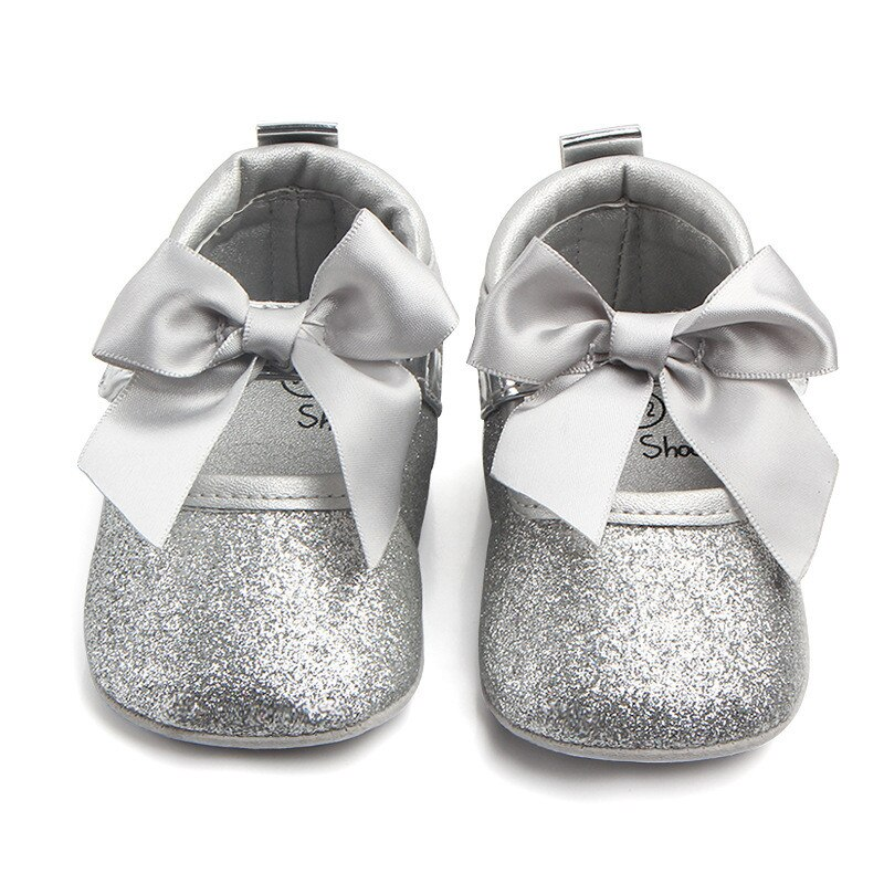 Baby Girls Shoes Spring Autumn First Walkers Infant Bowknot Soft Soled Shoes Toddler Non-slip Shoes Gold Silver