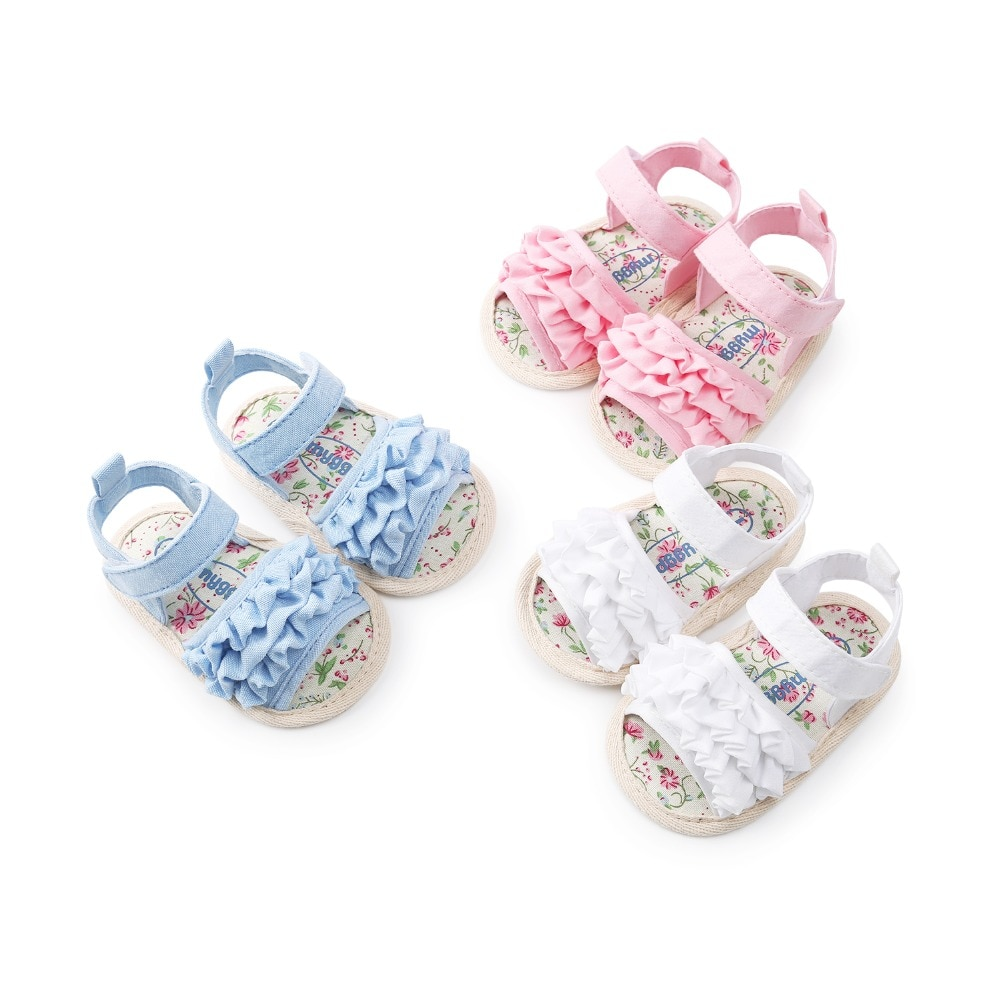 2020 Summer Baby Girls Fist Walkers Cute Floral Cotton Cloth Shoes Soft Sole Infant Baby Shoes