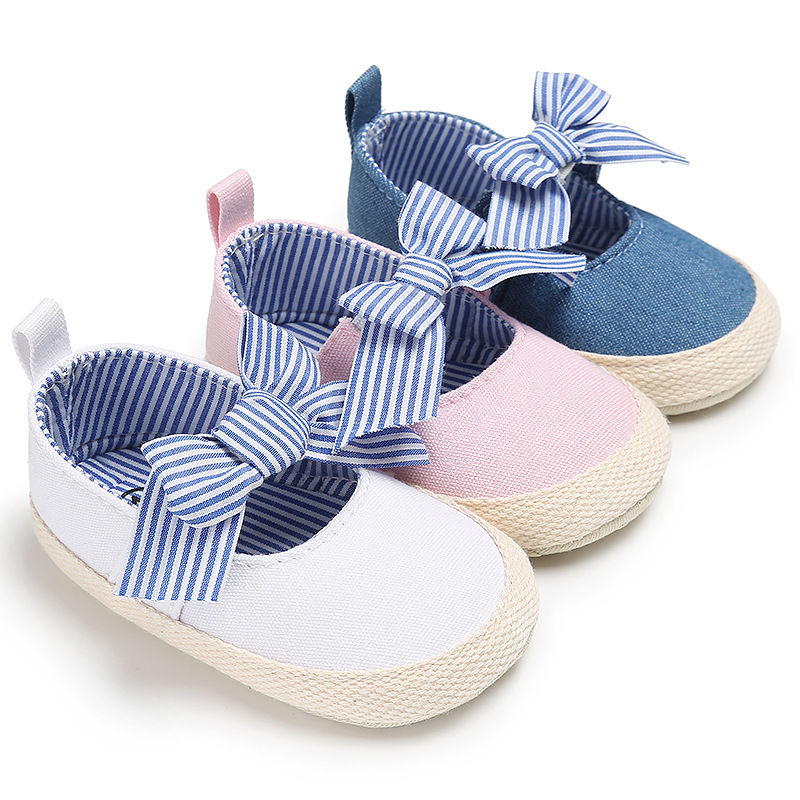 WONBO Baby Girls Princess Shoes Infant Toddler Crib Bebe Kids First Walkers Mary Jane Striped Big Bow Soft Soled Anti-Slip Dress