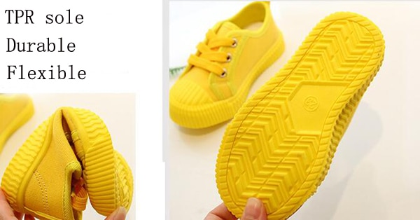 Boys Canvas Shoes Sneakers Girls Tennis Shoes Lace-up Kids Footwear Toddler Bright Yellow Chaussure Zapato Casual SandQ Baby New